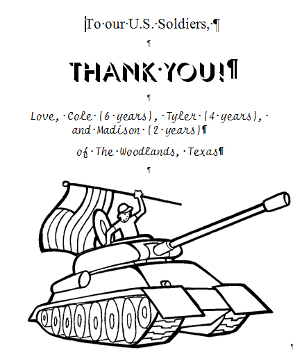 military thank you coloring pages - photo#23
